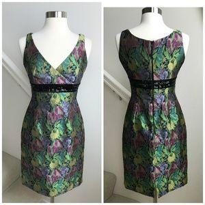 Carmen Marc Valvo Jewel-Tone Brocade Sheath Dress